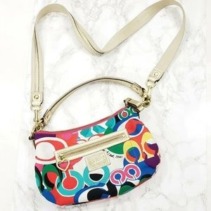 COACH Multi-color Rainbow Canvas Hobo Shoulder Bag